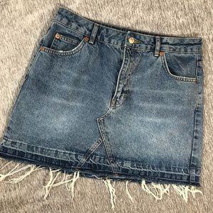 cada694bf22e76 Topshop Skirts | Moto Denim Pelmet Skirt Jean Blue Frayed | Poshmark
